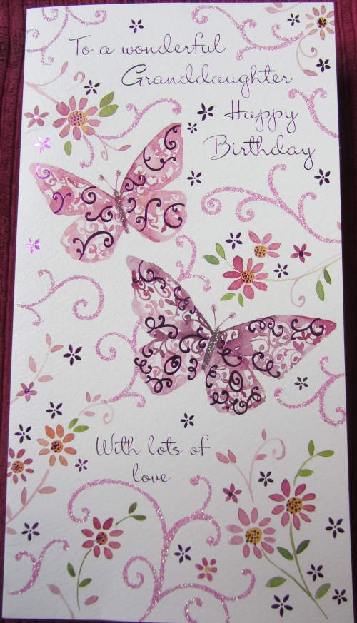 A beautiful card for a beautiful little girl.  I'm biased, but I think she's the cutest 8 year old in the whole wide world.  So there!