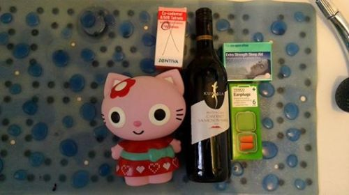 The Hello Kitty thing is full of bubble bath, it's nice to have a bath before bed to relax. A glass or two of wine helps knock me out before bed, as do the the 'Extra Strength' non-prescription sleeping tablets and the Co-Codamol helps a little too sometimes.